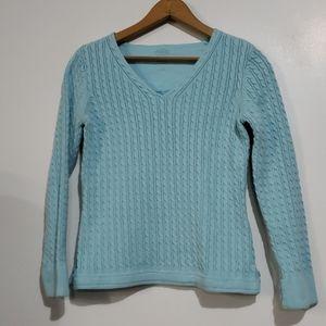 Talbots Aqua Cable Knit Sweater Size P